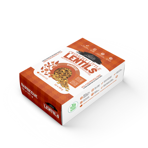 Picture of Three Farmers Crunchy Lentil Snack, BBQ 12x50g