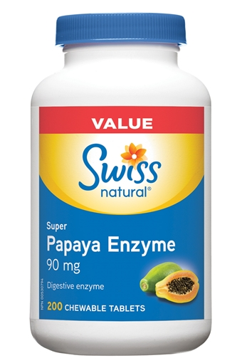 Picture of Swiss Natural Swiss Natural Super Papaya Enzyme 90mg, 200 Chewable Tablets