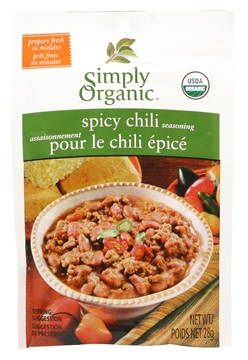 Picture of  Simply Organic Chili, Spicy Seasoning Mix, 28g
