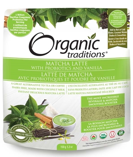 Picture of Organic Traditions Matcha Latte with Probiotics & Vanilla, 150 g