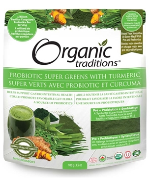 Picture of  Organic Traditions Probiotic Super Greens with Tumeric 100g