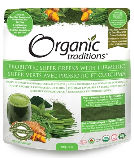 Picture of Organic Traditions Organic Traditions Probiotic Super Greens with Tumeric 100g