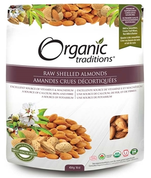 Picture of Organic Traditions Premium Raw Shelled Almonds, 454g