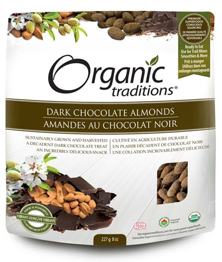 Picture of Organic Traditions Organic Dark Chocolate Covered Almonds, 227g