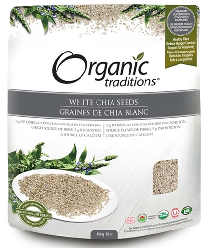 Picture of Organic Traditions White Whole  Chia Seeds, 454g