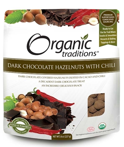 Picture of Organic Traditions Organic Dark Chocolate Covered Hazelnuts with Chili, 227g