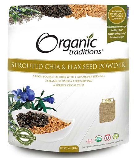Picture of Organic Traditions Sprouted Chia & Flax Seed Powder, 454g