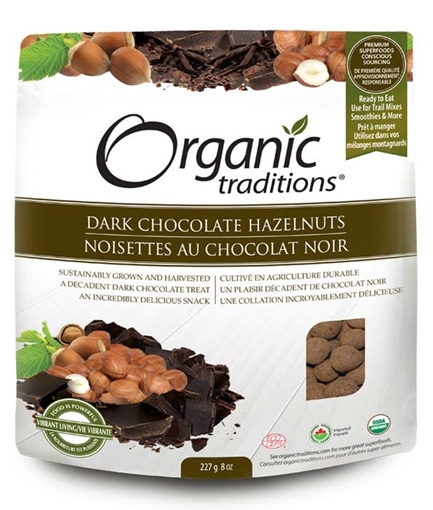 Picture of Organic Traditions Organic Dark Chocolate Covered Hazelnuts, 227g