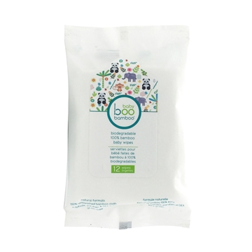 Picture of  Boo Bamboo Baby Biodegradable Travel, 12 Wipes