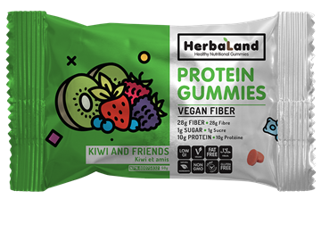 Picture of  Herbaland Protein Gummies, Kiwi & Friends 50g