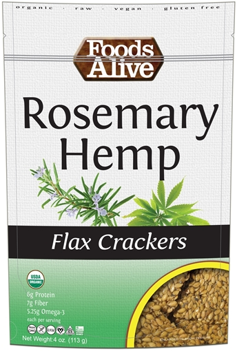 Picture of Foods Alive Inc. Rosemary Hemp Flax Crackers Organic, 6x113g