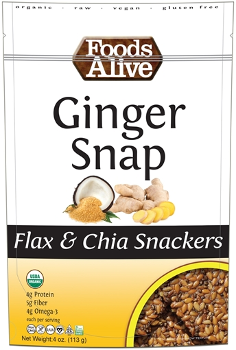 Picture of Foods Alive Inc. Ginger Snap Flax & Chia Snacker Organic, 6x113g