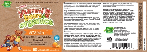 Picture of Hero Nutritionals Yummi Bears Vitamin C Organic Gummies, 60 ct