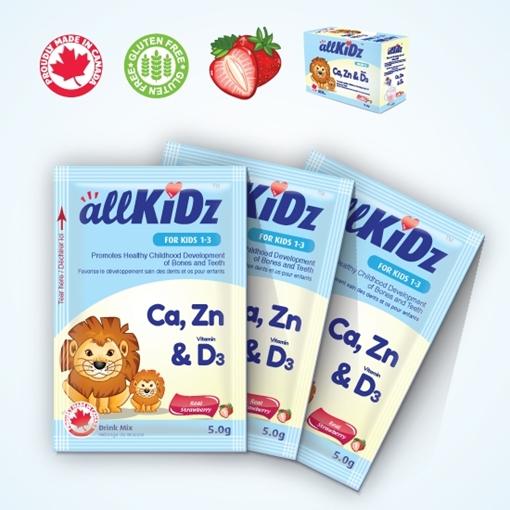 Picture of Allkidz Naturals Inc. AllKidz Naturals Calcium, Zinc & Vitamin D3 Drink Mix, 5gx30pk