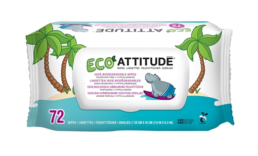 Picture of Attitude ATTITUDE Baby Wipes 100% Biodegradable, 72 Wipes