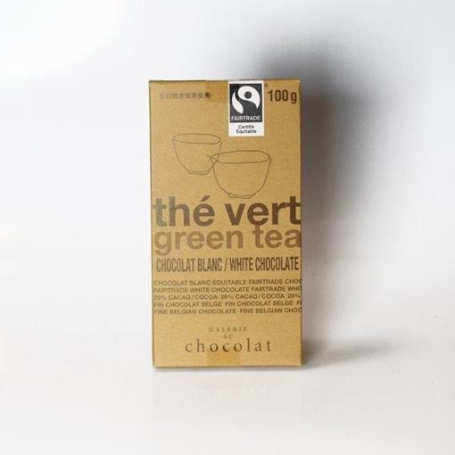 Picture of Galerie au Chocolat Galerie au Chocolat Fairtrade White Chocolate Green Tea Bar, 100g