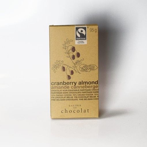 Picture of Galerie au Chocolat Fairtrade Dark Chocolate Almond Cranberry Bar, 8x100g