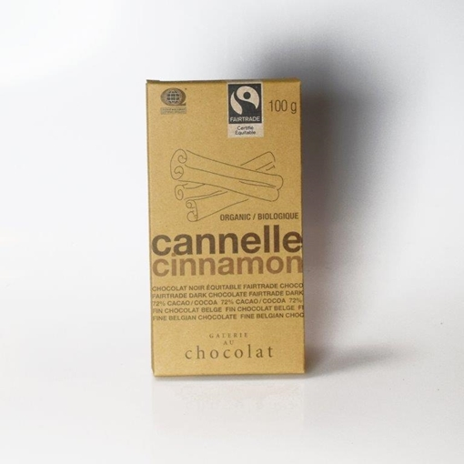 Picture of Galerie au Chocolat Fairtrade Dark Chocolate Cinnamon Bar, 8x100g