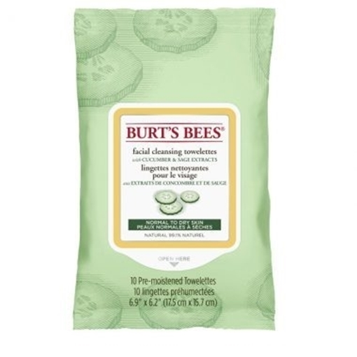 Picture of Burts Bees Burt's Bees Facial Cleansing Towelettes, Cucumber 10 Wipes