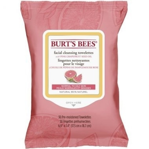 Picture of Burts Bees Burt's Bees Facial Cleansing Towelettes, Pink Grapefruit 30 Wipes