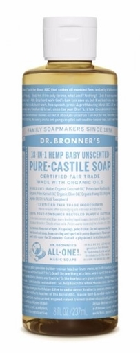 Picture of Dr. Bronner Dr. Bronner's Pure-Castile Liquid Soap, Baby Unscented 237ml