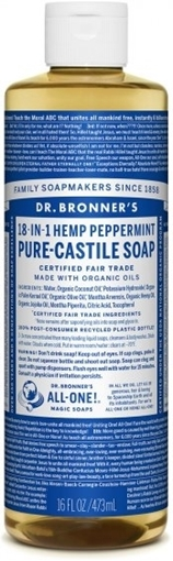 Picture of Dr. Bronner Dr. Bronner's Pure-Castile Liquid Soap, Peppermint 473ml