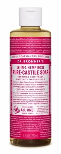 Picture of Dr. Bronner Dr. Bronner's Pure-Castile Liquid Soap, Rose 237ml
