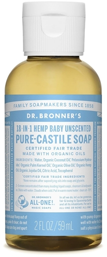 Picture of Dr. Bronner Dr. Bronner's Pure-Castile Liquid Soap, Baby Unscented 59ml