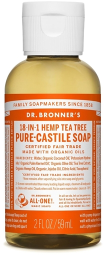 Picture of Dr. Bronner Dr. Bronner's Pure-Castile Liquid Soap, Tea Tree 59ml