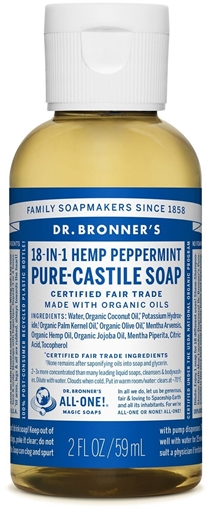 Picture of Dr. Bronner Dr. Bronner's Pure-Castile Liquid Soap, Peppermint 59ml