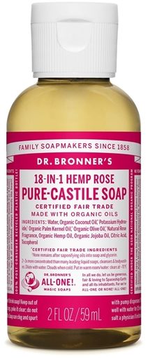 Picture of Dr. Bronner Dr. Bronner's Pure-Castile Liquid Soap, Rose 59ml