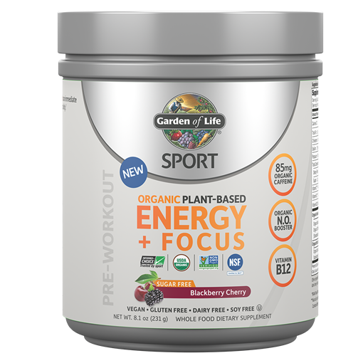 Picture of Garden of Life Organic Plant-Based Energy + Focus Blackberry-Cherry Sugar-Free, 231g