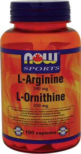 Picture of NOW Foods NOW Foods L-Arginine 500mg and Ornithine 250mg, 100 Capsules