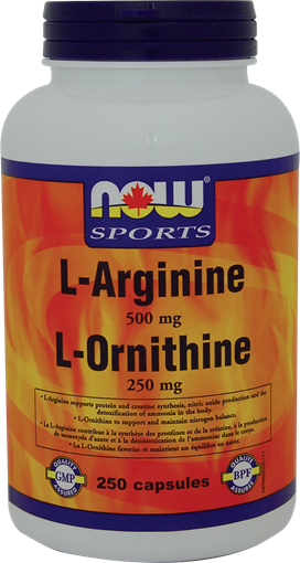 Picture of NOW Foods NOW Foods L-Arginine 500mg and Ornithine 250mg, 250 Capsules