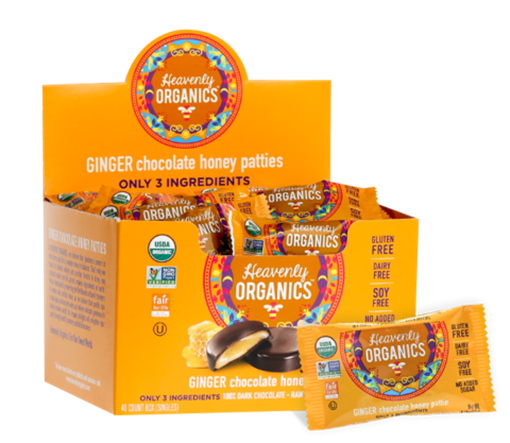 Picture of Heavenly Organics Ginger Chocolate Honey Patties, 40x11g