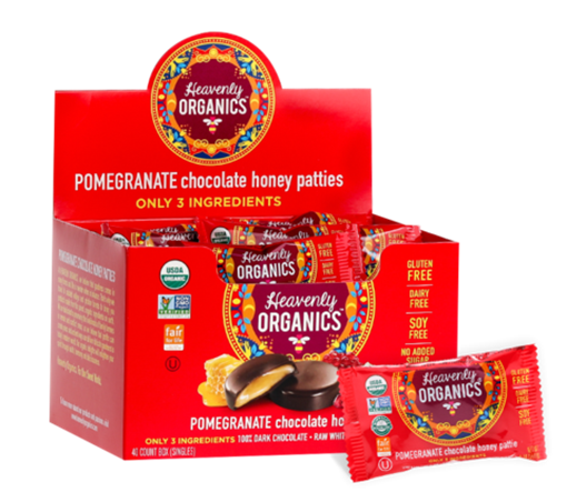 Picture of Heavenly Organics Pomegranate Chocolate Honey Patties, 40x11g