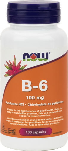 Picture of NOW Foods B-6 100mg, 100 Capsules