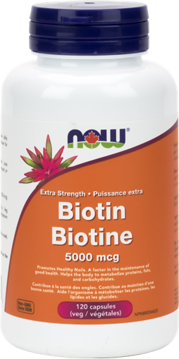 Picture of NOW Foods Biotin 5,000 mcg, 120 Veg Capsules