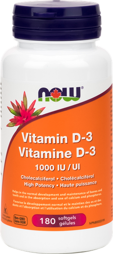 Picture of NOW Foods Vitamin D-3 1,000 IU, 180 softgels