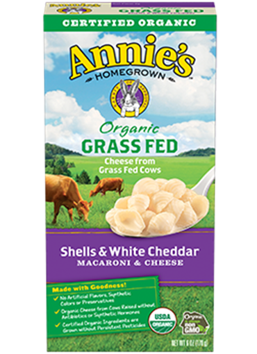 Picture of Annie's Homegrown Annie's Homegrown Organic Grass Fed Shells and White Cheddar, 170g