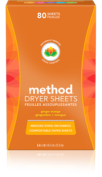 Picture of  Method Dryer Sheets, Ginger Mango 80 Sheets
