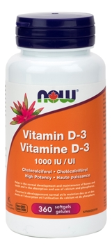 Picture of NOW Foods Vitamin D-3 1,000 IU, 360 Softgels