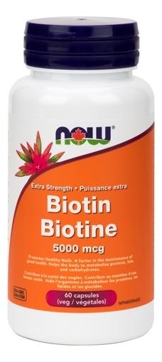 Picture of NOW Foods Biotin 5000mcg, 60 Capsules