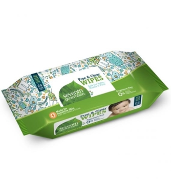 Picture of  Seventh Generation Baby Wipes, Free & Clear 64 Count