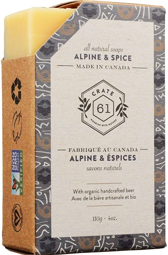 Picture of Crate 61 Organics Crate 61 Organics Bar Soap, Alpine & Spice with Beer 110g