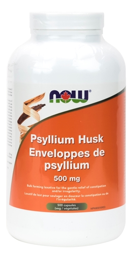 Picture of NOW Foods Psyllium Husk 500mg, 500 Capsules