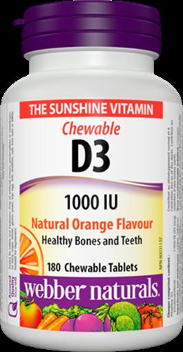 Picture of Webber Naturals Vitamin D3 1000IU, 180 Capsules