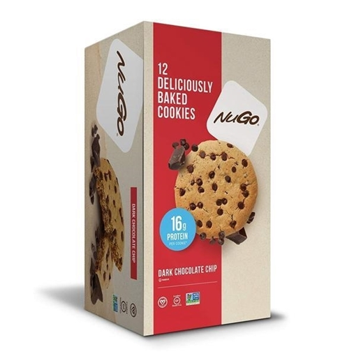 Picture of NuGo Nutrition To Go Dark Chocolate Chip Protein Cookies, 12x100g