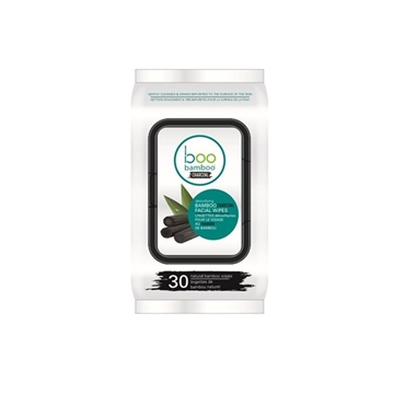 Picture of  Boo Bamboo Charcoal Cleansing Face Wipes, 30 Count