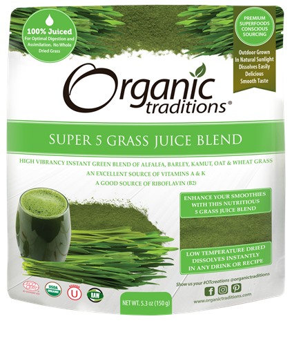 Picture of Organic Traditions Super 5 Grass Juice Blend, 150g